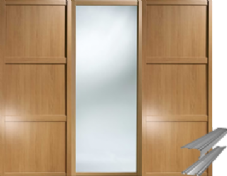 Shaker Style Windsor Oak 2 Panel & 1 Mirror Door & Track Set to suit an opening width of 2692mm